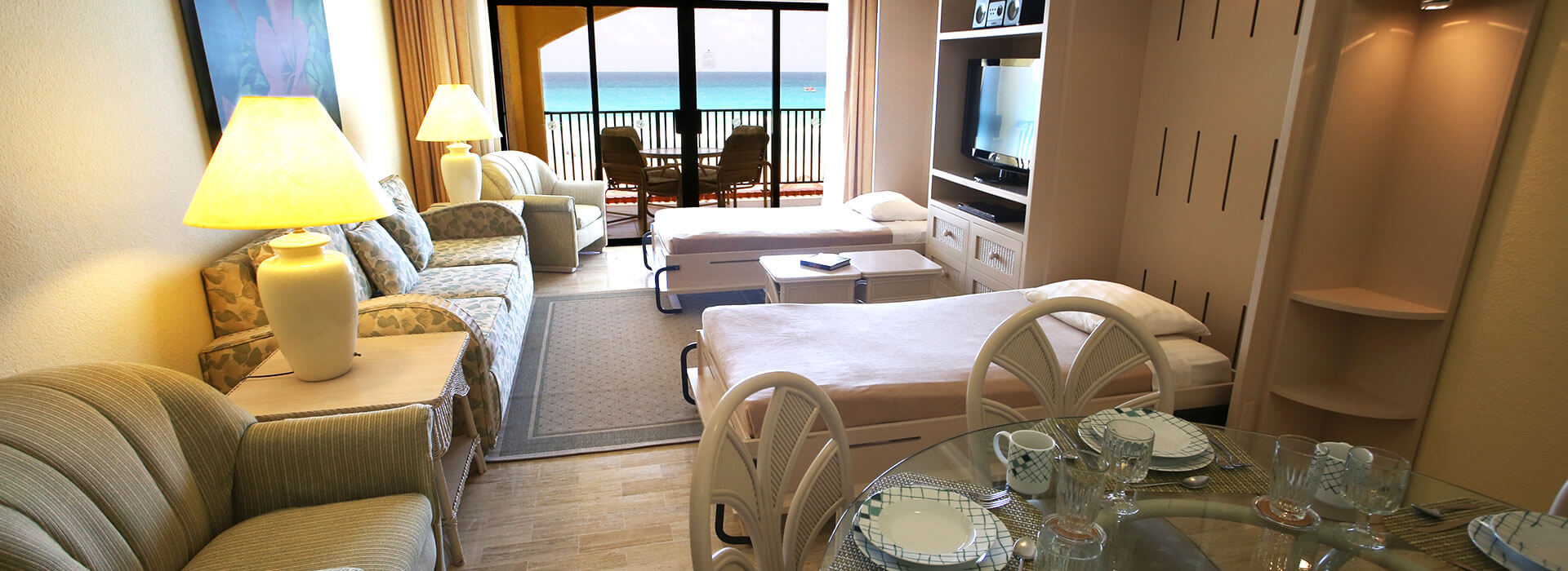 suite in cancun resort with dining and living room