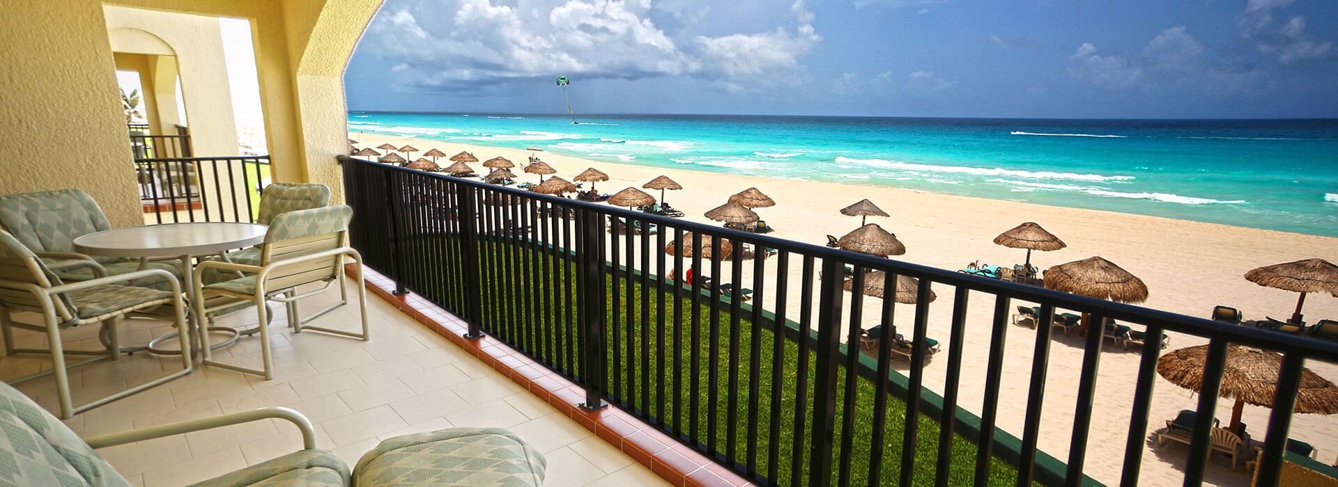 ample terrace with beachfront views