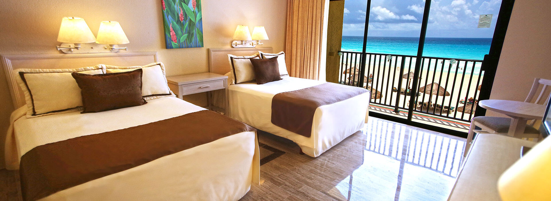 habitación en Cancún con dos camas matrimoniales